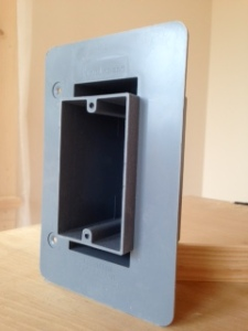 Airfoil single gang box, front view. The foam voids are visible here.